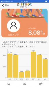 ダイエットBOX歩数履歴
